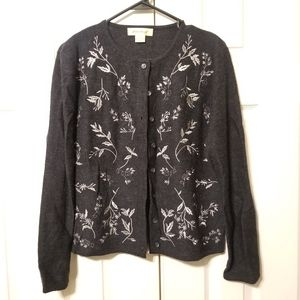 Eddie Bauer 100% Wool Button Up Cardigan / Sweater